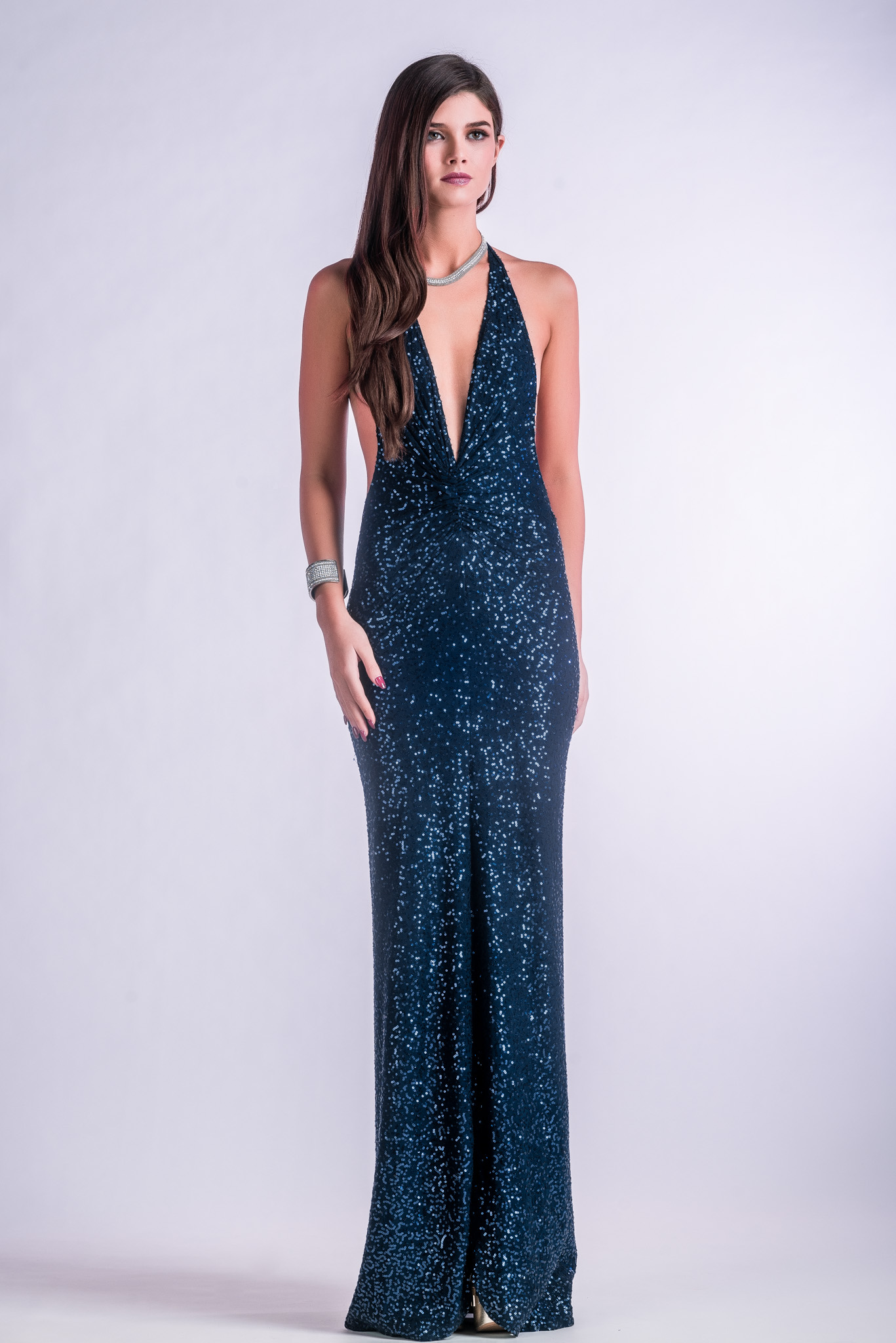 Blue Sequin Gown